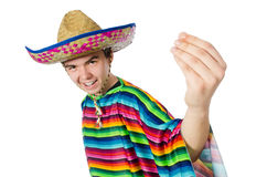Spanish wearing sombrero in funny concept Stock Images