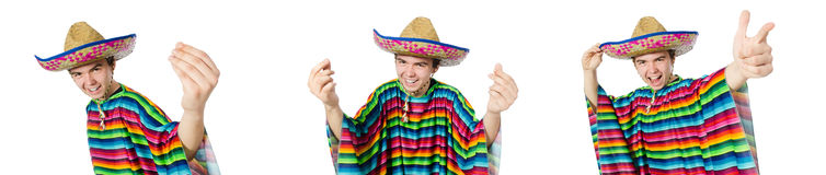 The spanish wearing sombrero in funny concept Stock Images