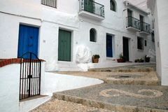 Spanish white village of Frigiliana with typical stairs Royalty Free Stock Photography