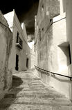 Spanish White Villages. White Villages of Andalusia in southern Spain. Narrow Cobbled streets and whitewashed houses. Monochrome Stock Images