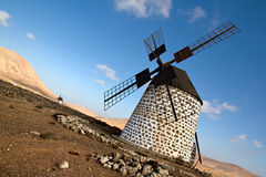 Spanish windmill in Fuerteventura Stock Images