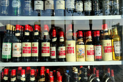 Spanish wine in a shop window Stock Photos