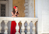 Spanish woman on the balcony Royalty Free Stock Photography