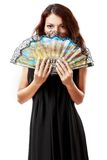 Spanish woman with a fan and black dress Royalty Free Stock Photo