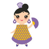 Spanish Woman flamenco dancer. Kawaii cute face with pink cheeks and winking eyes. Gipsy girl, fan, orange purple dress, polka dot Royalty Free Stock Photo