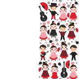 Spanish Woman flamenco dancer. Kawaii cute face with pink cheeks and winking eyes. Gipsy girl, red black dress, polka dot fabric,. On white background banner Stock Photo