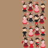 Spanish Woman flamenco dancer. Kawaii cute face with pink cheeks and winking eyes. Gipsy girl, red black dress, polka dot fabric,. On light brown background Royalty Free Stock Image
