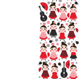 Spanish Woman flamenco dancer. Kawaii cute face with pink cheeks and winking eyes. Gipsy girl, red black dress, polka dot fabric, Stock Image
