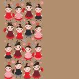 Spanish Woman flamenco dancer. Kawaii cute face with pink cheeks and winking eyes. Gipsy girl, red black dress, polka dot fabric, Royalty Free Stock Photos