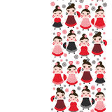 Spanish Woman flamenco dancer. Kawaii cute face with pink cheeks and winking eyes. Gipsy girl, red black dress, polka dot fabric, Stock Images