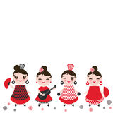 Spanish Woman flamenco dancer. Kawaii cute face with pink cheeks and winking eyes. Gipsy girl, red black white dress, polka dot fa Stock Photography