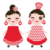 Spanish Woman flamenco dancer. Kawaii cute face with pink cheeks and winking eyes. Gipsy girl, red black white dress, polka dot fa Stock Photography