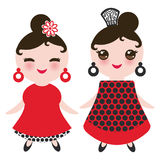 Spanish Woman flamenco dancer. Kawaii cute face with pink cheeks and winking eyes. Gipsy girl, red black white dress, polka dot fa Royalty Free Stock Photography