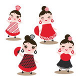 Spanish Woman flamenco dancer. Kawaii cute face with pink cheeks and winking eyes. Gipsy girl, red black white dress, polka dot fa Stock Images