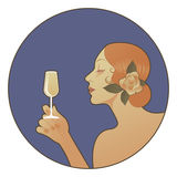 Spanish woman holding a glass of white wine. Vector illustration. Good for labels or packaging. Space for text Stock Photography