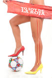 Spanish woman legs sudafric world cup football Stock Image