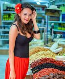 Spanish woman in the market Stock Photos