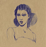 Spanish woman portrait pen drawing Royalty Free Stock Image
