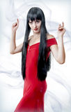 Spanish woman in red dress dancing Stock Images
