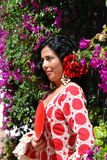 Spanish woman in traditional dress, Marbella, Spain. Royalty Free Stock Photos