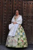 Spanish woman in Valencia , Spain. Valencian woman in traditional dress in Valencia, Spain during the festival, Las Fallas Royalty Free Stock Images