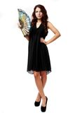Spanish Woman With A Fan And Black Dress Stock Images