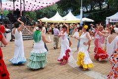 Spanish women flamenco dancing, Marbella. Royalty Free Stock Photo