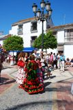 Spanish women in flamenco dresses, Marbella. Royalty Free Stock Photo
