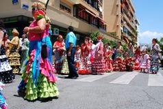 Spanish women in flamenco dresses, Marbella. Stock Photos
