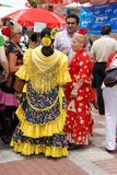 Spanish women in flamenco dresses. Royalty Free Stock Photography
