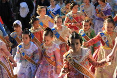 Spanish women and girls in Valencia , Spain. Valencian women and girls in traditional costumes in Valencia, Spain during the festival Las Fallas Stock Photography