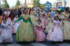 Spanish women and girls in Valencia , Spain Royalty Free Stock Photos