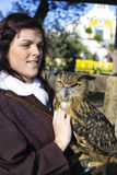 Spanish women and owl Stock Images