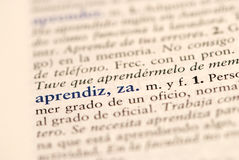 Spanish word for Apprentice Stock Photo