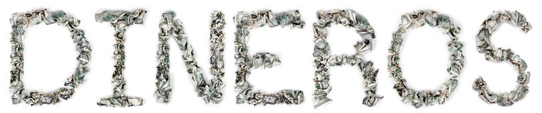 Dineros - Crimped 100$ Bills. The Spanish word 'dineros', made out of crimped 100$ bills Royalty Free Stock Photo