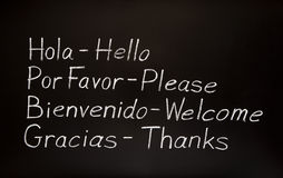 Spanish words and their english translations Royalty Free Stock Photo