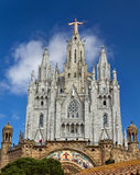 Spanje Barcelona Temple DE Sagrat Cor Tibidabo Stock Afbeelding