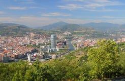 Spanje, Bilbao, Mening van stad van hierboven royalty-vrije stock afbeeldingen