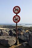 Spanje, Canarische Eilanden, waarschuwingsborden Stock Afbeeldingen