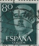 SPANJE - CIRCA 1949: Zegel in het tonen van een portret van Algemeen Francisco Franco 1892-1975 wordt gedrukt die Stock Afbeelding