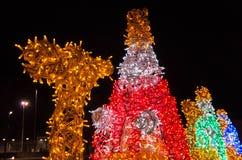 Spanje, Ciudad Real, Kerstmis Lichte Beeldhouwwerken van Royalty-vrije Stock Foto