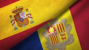 Spanje en Andorra twee vlaggen textieldoek, stoffentextuur royalty-vrije illustratie