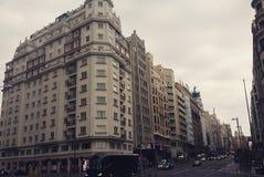 Spanje Gran via van de Hoofdstadwolken van Madrid Stock Foto's
