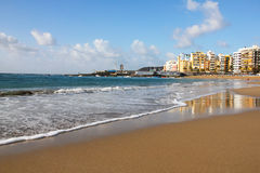 Spanje. Het eiland van Gran Canaria. Las Palmas de Gran Canaria. Las schuint af stock foto