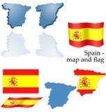 Spanje - kaart en vlagreeks Royalty-vrije Stock Foto's