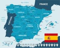 Spanje - kaart, vlag en navigatieetiketten - illustratie Royalty-vrije Stock Afbeelding