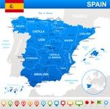 Spanje - kaart, vlag en navigatiepictogrammen - illustratie Stock Afbeelding