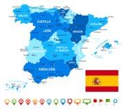 Spanje - kaart, vlag en navigatiepictogrammen - illustratie Royalty-vrije Stock Foto