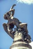 Spanje, Madrid, Gevallen Engelenbeeldhouwwerk in Retiro-Park Stock Afbeelding