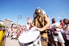 Spanje Navarra Pamplona 10 de fiestakerel van Juli 2015 S Firmino het spelen Stock Foto's